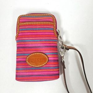 Fossil Pink Striped Wristlet Coin Purse Canvas